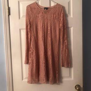 Trixxi long sleeve pink illusion lace dress